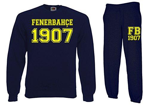 TRVPPY Herren 2er Set Pullover + Jogginghose Fenerbahce Istanbul, Navyblau, L