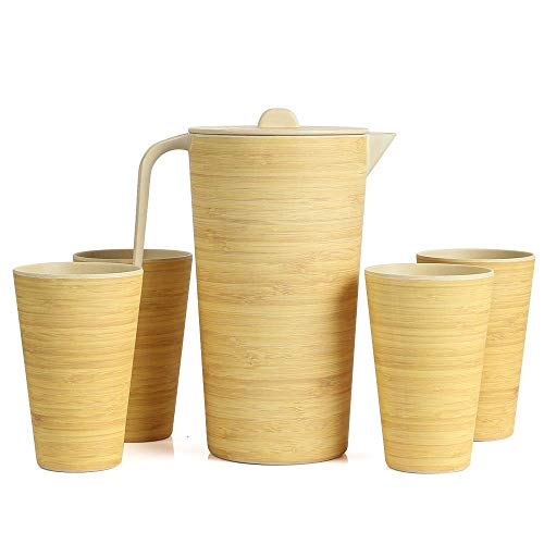 LEKOCH Bambus 1.5 L Kanne in Set mit Deckel und 4 Becher, Wasser Krugg, für Wohnmobil/Camping, BPA frei