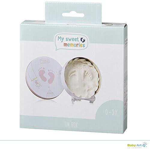 My Sweet Memories - Geschenkbox aus Metall, Rund, besondere Geschenke Box mit Gipsabdruck zum Selbermachen für Baby Fußabdruck oder Handabdruck, little circus, rosa