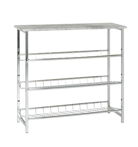 HAKU Möbel 44638 Schuhregal, Metall, Chrom-betonoptik, 28 x 86 x 81 cm
