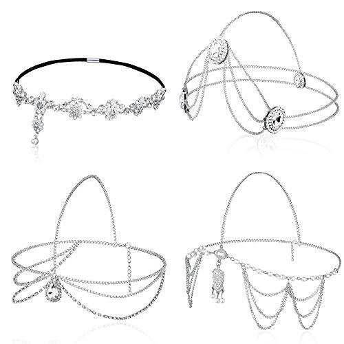 Jstyle 4Pcs Head Chain Jewelry for Women Rhinestones Crysatal Drop Pendant Headpiece Bridal Bohemian Halloween Hair Accessories Silver Tone