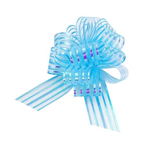 Oblique Unique® Geschenk Schleife mit Geschenkband Glänzend für Geschenke Tüten Zuckertüten zum Basteln Dekorieren Verzieren - wählbar (Hellblau)
