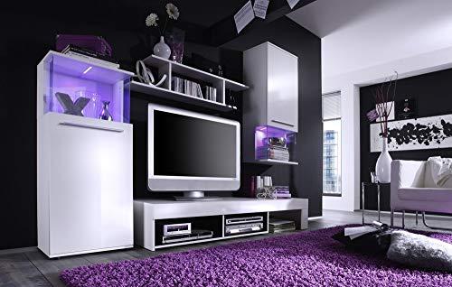 Newfurn Wohnwand Anbauwand Modern Wohnzimmerschrank Wohnlandschaft Mediawand Fernsehschrank II 228x183x 47 cm (BxHxT) II [Ignaz.Four] in Weiß/Weiß Hochglanz Wohnzimmer
