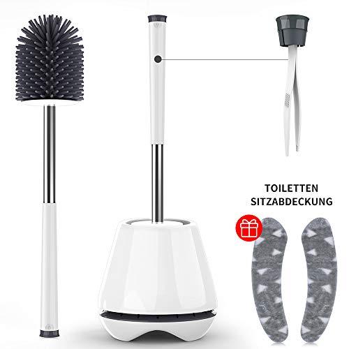 Yuede WC-Bürste und Halter, Toilettenbürste aus Silikon Klobürste Edelstahl mit Toilettensitzabdeckung, Premium WC-Garnitur Weiß/Grau