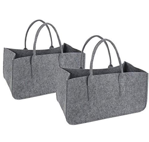 2 bolsas de fieltro para leña de la compra, cesta de la compra, cesta de la leña, cesta de la compra, revistero de fieltro, plegable, color gris, juego de 2 unidades, 49 x 25,5 x 25,5 cm