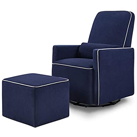 DaVinci Olive Upholstered Swivel Glider with Bonus Ottoman in Navy with Grey Piping, Greenguard Gold Certified
