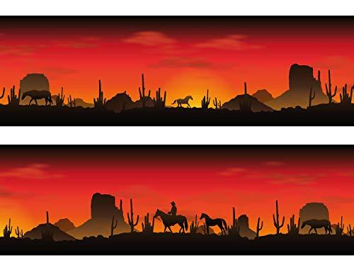 wandmotiv24 Bordüre Amerikanische Wüste 260cm Breite - Papier Borte Tapetenbordüre Bordüren Borde Wandborde Cowboy Sonnenuntergang Western M0018