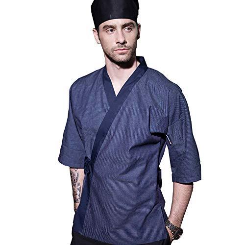 Bycloth Herren Chef Mantel Jacke,Japanische Küche Arbeitskleidung für Restaurants Küchen Konditoreien Cafés,XL