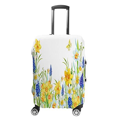 CHEHONG Maleta cubierta de equipaje cubierta acuarela flores amarillo carro de viaje funda protectora lavable fibra de poliéster elástica a prueba de polvo se adapta a 45 – 81 cm