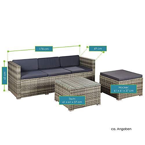 ArtLife Polyrattan Lounge Punta Cana M für 3-4 Personen mit Tisch in grau-meliert mit Bezügen in Dunkelgrau | Gartenmöbel Sitzgruppe Rattangarnitur - 7