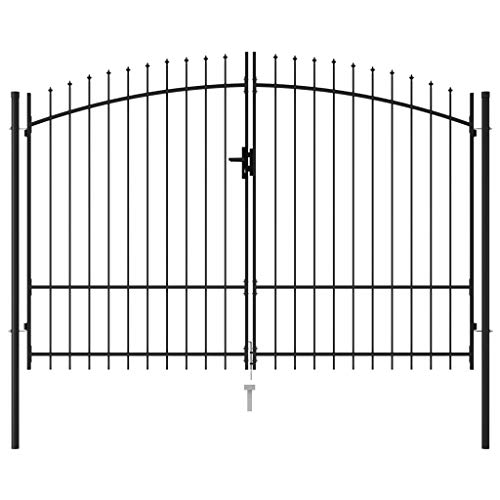 Tidyard Cancello da Giardino a Doppia Anta con Punte a Lancia in Acciaio Nero,Cacello per Recinzione,Cancello in Metallo,Cancello da Esterno,Cancello in Acciaio