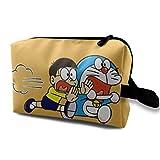 Hdadwy Estuche de Maquillaje de Viaje de Dibujos Animados Anime Lindo Doraemon con muñequera Bolsas de cosméticos Bolsa de Aseo portátil con Cremallera para niñas Mujeres