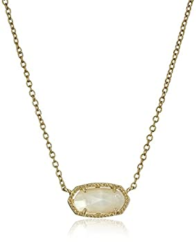 Kendra Scott Elisa Short Pendant Necklace for Women Dainty Fashion Jewelry 14k Gold-Plated Ivory Mother of Pearl