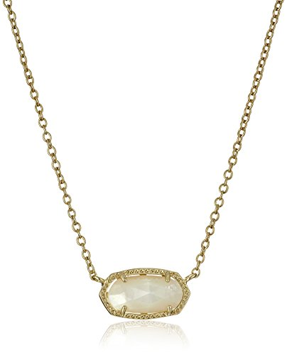 Kendra Scott Elisa Short Pendant Necklace for Women, Dainty Fashion Jewelry, 14k Gold-Plated, Ivory Mother of Pearl