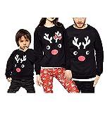 Navidad Sudadera sin Capucha Familiar Disfraz de Padres e Hijos Camiseta de Manga Larga con Patrn de Reno Top Sweatshirt de Cuello Redondo Ropa de Familia Invierno para Fiesta Navidad Casual