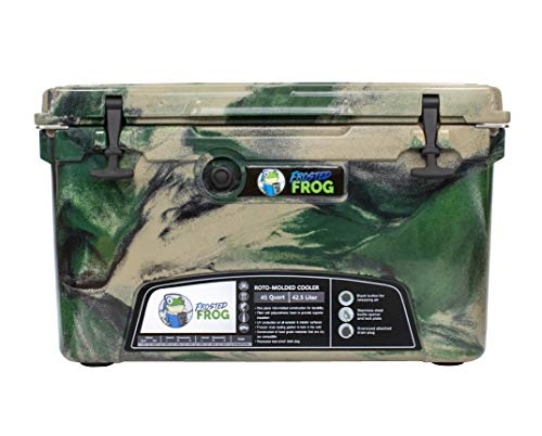 Frosted Frog Green Camo 45 Quart Ice Chest Heavy Duty High Performance Roto-Molded Commercial Grade Insulated Cooler