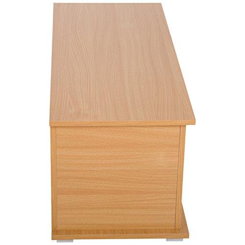 HOMCOM Truhe Aufbewahrungsbox Holzkiste mit klappbarem Deckel Spanplatte Buche 100 x 40 x 40cm - 5