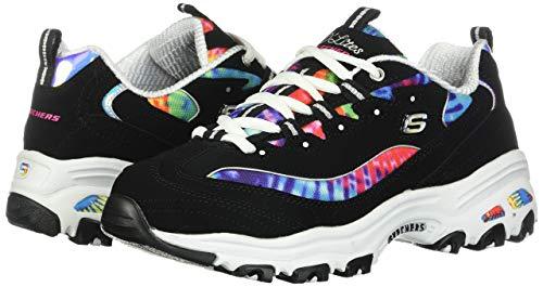 Skechers Women's D'Lites Summer Fiesta Sport Sneaker Shoes, Black/Multi, Size 7