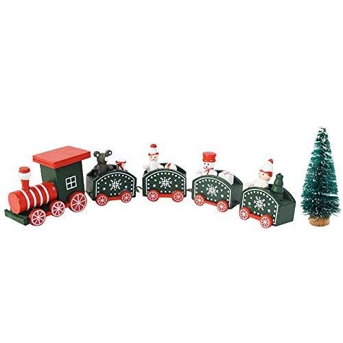 Bett Tren de Navidad con un árbol de Navidad, Tren de decoración navideña, Tren de Madera de Navidad para Decoraciones, Fiesta, Adornos de Navidad para jardín de Infantes (Verde (5 Nudos)