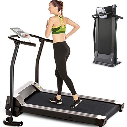 Electric Folding Treadmill for Small Spaces, Ultra-Quiet Portable Exercise Running Machine for Home Workout with 12 Programs & LCD Screen