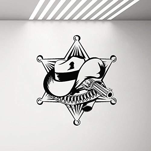 Yaonuli sticker sheriffo hoed vinyl sticker voor jongens slaapkamer wanddecoratie