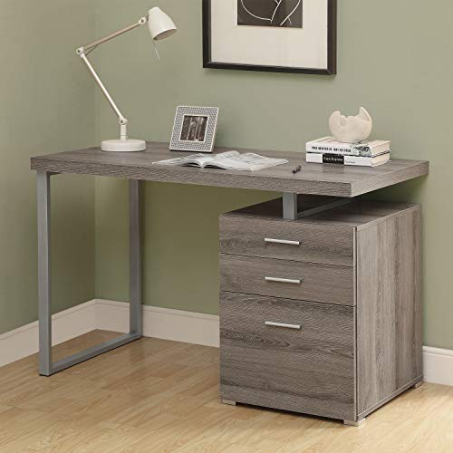 """Monarch Specialties Computer Desk with File Cabinet-Left or Right Set-Up, 48"""" L, Dark Taupe"""