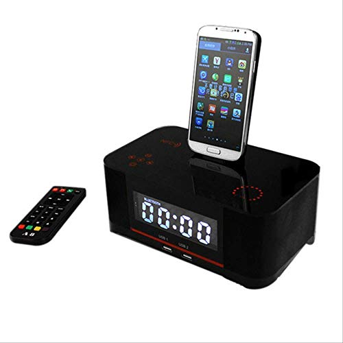 Best Price Touch Alarm Charger Dock Station Stereo Wireless Bluetooth Speaker with NFC Fm Radio Blac...