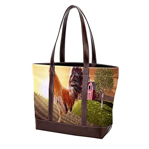 NaiiaN Leichte Umhängetaschen für Mutter Frauen Mädchen Damen Student Hahn Hochgelegener Bauernhof Zaun Handtaschen Geldbörse Shopping Einkaufstasche