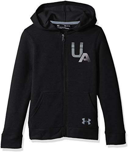 Under Armour Rival Logo Full Zip Warm up Top BlackSteel Youth Large