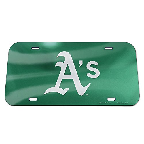 Wincraft MLB Oakland Athletics Crystal Mirror Logo License Plate, Team Color, One Size