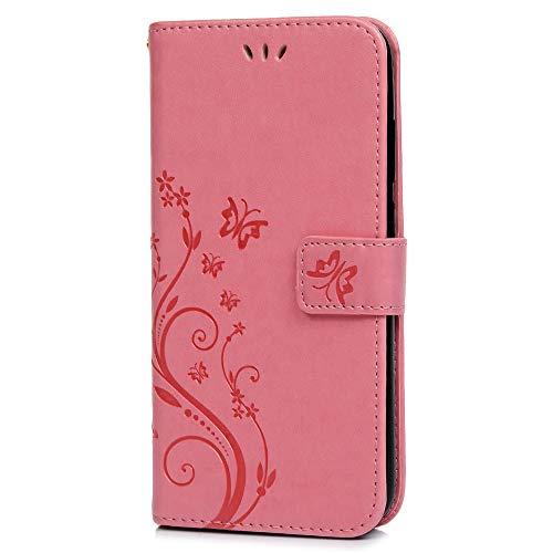 Huawei Y6 Pro 2019 Hülle, Hülle PU Leder Tasche Handyhülle Flip Case Cover Handytasche Mädchen Schutzhülle Skin Ständer Klappbar Schale Bumper Magnet Deckel für Huawei Y6 Pro 2019 Pink