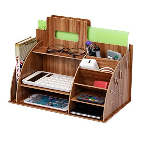 HEREB Büro Tisch Organisation - Büro Tisch Schreibtisch Organizer Stifte Organizer Holz für A4 Papiere, Bücher, Stifte und Notizbücher