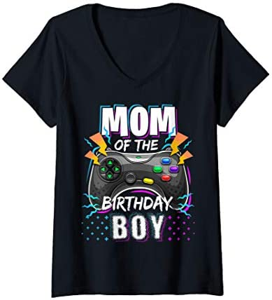 Womens Mom of the Birthday Boy Matching Video Game Birthday Party V Neck T Shirt product image