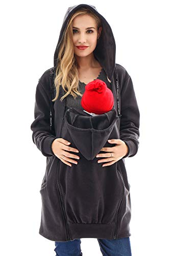 Bearsland Women's Babywearing Pregnancy Jacket Coat Fleece Maternity Baby Carrier Hoodie Sweater,DeepGray,M