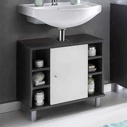 Pharao24 Badezimmer Waschbeckenschrank in Weiß Dunkelgrau