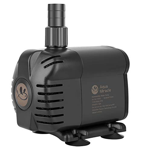 AquaMiracle 400GPH Submersible Water Pump (6ft UL power cord) with Pre-filtration for aquarium, fish tank, fountain, pond, waterfall, statuary, water feature, hydroponics, horticulture, water garden