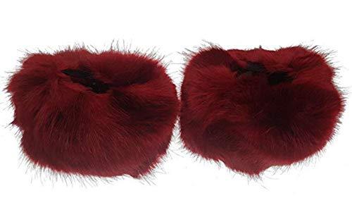 EVRYLON Polsini Polsi In Eco Pelliccia Manicotti Per Maglie E Cappotti Rosso Scuro Confezione 2 Pz Ottima Idea Regalo