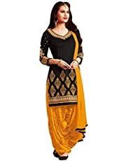 Fexmy Women's Crepe Unstitched Salwar Suit (Salwar suit Dress Material For Women_Black_Free Size)