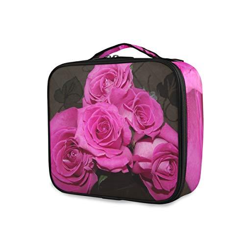 Rose Fleur Rose Blossom Professionnel Maquillage Sac de Voyage Cosmétique Trousse Organisateur Portable Maquillage Trousse de Toilette Trousse de Maquillage Sac de Voyage pour Femmes