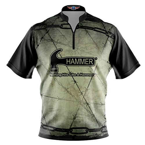 Logo Infusion Bowling Dye-Sublimated Jersey (Sash Collar) - Hammer Style 0355 - Sizes S-4XL (M) Green Black