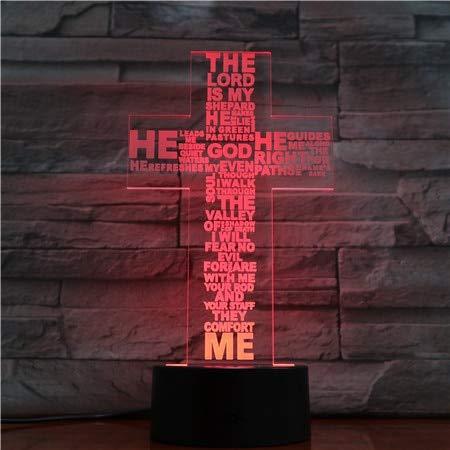 Jesus Cross Touch Remote Night Light Panel estereo Mesa de comedor Decoracion Cambio de color Luz del dormitorio