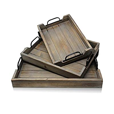 Decorative Nested Vintage Wood Serving Tray Set For Coffee Table or Ottoman ? Rustic Wooden Breakfast Trays For Kitchen, Dining Room, or Living Room ? Farmhouse Platter w/Handles