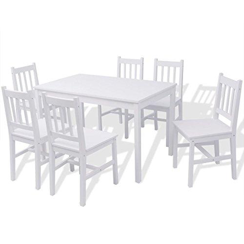 vidaXL Pinienholz Essgruppe 7-TLG. Sitzgruppe Esstisch Holztisch Tisch Stühle