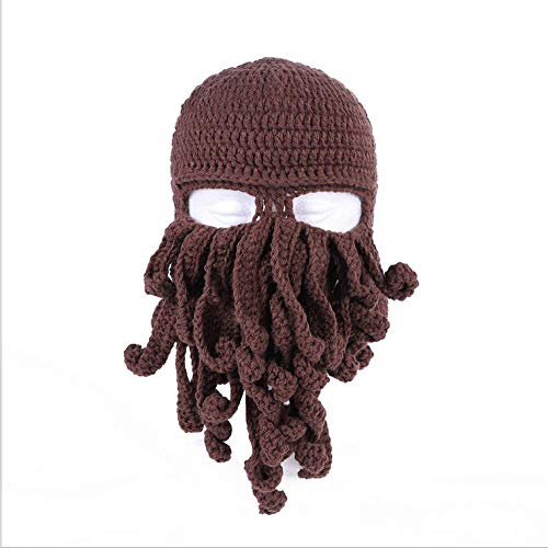 YUY Novedad Divertida Fiesta Pulpo Barba Sombrero Unisex Animal Tentáculo de Ganchillo Tejido Máscara de Viento Gorro de Esquí Sombreros de Halloween Disfraz Creativo Cosplay,Coffee