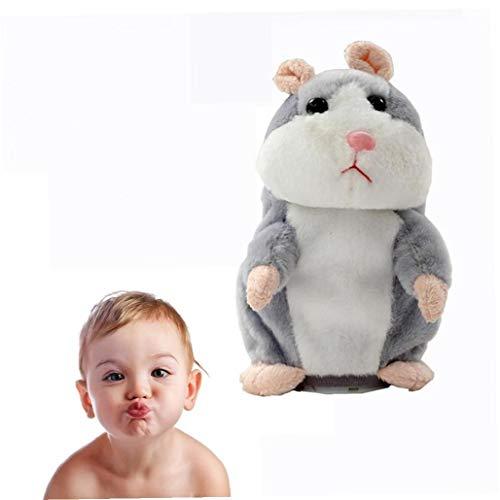 AAGOOD Juguete de Regalo 18 cm para Mascotas Talking Hamster Repite lo Que Usted Dice los Animales de Peluche electrónicos hámster ratón de cumpleaños Perfecto del Regalo para el niño y niñas (Gris)