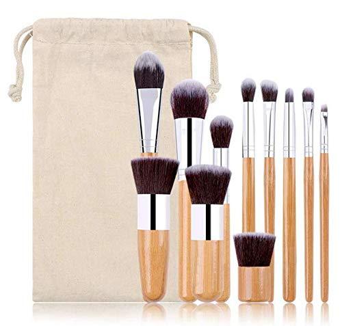 Lot de 11 pinceaux de maquillage en bambou