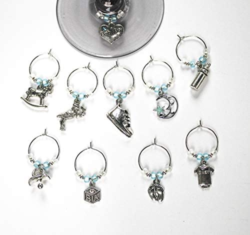 Baby Shower Favors New Baby Boy Wine Glass Charms Set of 10 product image