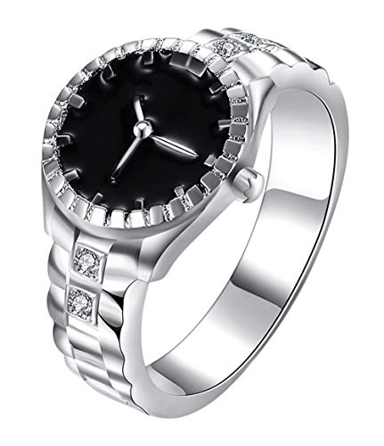 Cutesmile Fashion Jewelry 925 Sterling Silver Dial Analog Watch Creative Finger Ring Watch Good Gift (US 6)
