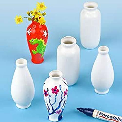 Baker Ross Mini Porzellanvasen (6er-Pack), Kinder zum Dekorieren und Personalisieren, ideal für die Präsentation zu Hause