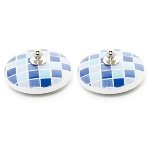 Abc_baño Tapones de Lavabo 2uds. de Porcelana gresites (Gresite Azul)
